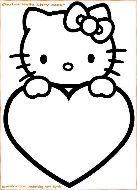 Coloriage hello kitty hello kitty coeur - Coloriage hello kitty et mimi ...