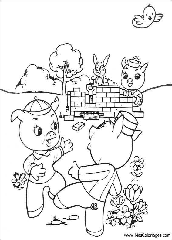 16 Coloriages Des 3 Petits Cochons Page 2